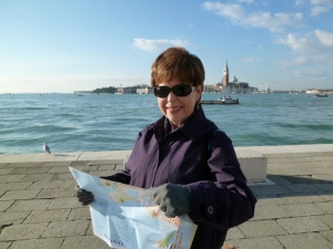 Me consulting the map. Crisp, clear day on the Venetian Lagoon. This view is from Santa Elena, back toward Venice.