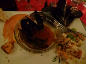 The antipsato course: smoked salmon, cured anchovies, seafood salad, steamed mussels and more.