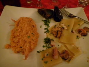 The Primi were a seafood risotto and a lovely mixed seafood pastes.