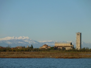 View of Torcello Island and the distant snow-covered mountains. Bellissima!