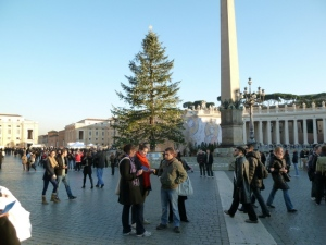 The crowd gathers in St. Peter's Square before New Year's Eve vespers.
