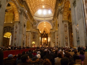 The magnificent Basilica San Pietro, with a few thousand people.... and us!
