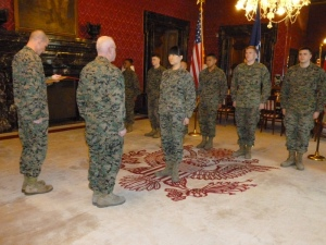 """Ric and I were fortunate to """"adopt"""" a daughter, a Marine serving in the embassy, and invited to attend her promotion from Corporal to Staff Sargeant. Megan has moved on to serve our embassy in Bulgaria."""