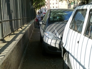 If there's no room in the street, just block a sidewalk. Pedestrians be damned!