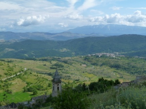 On our hike up to the rocca, the view from just above the village of Calascio.