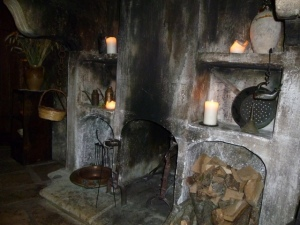 "Old fireplace in the ""tavern"" where one finds Abruzzese cuisine."