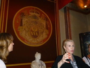 Rita Jenrette Boncompagni Ludovisi explains the family crest and history of the villa.