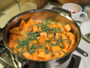 Beautiful butternut squash and fresh sage on the way to making a velvety soup.