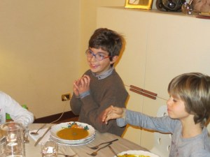 Giuseppe and Giordano at table - even the kids liked the soup!