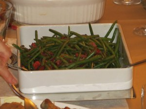 Thanksgiving green beans with red peppers and American bacon. Not your mother's green bean casserole.