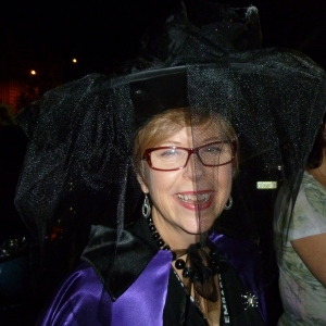 Finally a chance to wear my hat and cape again! Mild evening, plenty of wine, no cars.