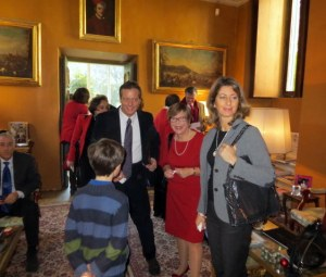 Leo, Francesco, me and Alessandra enjoy one of the elegant salons at Villa Aurora.