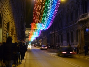 3 years ago, the lights on Via del Corso celebrated Italy's 150th year with red, white & green lights. This year, a rainbow.