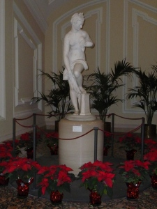 This priceless statue by Giambologna is in the U.S. Embassy. Here she stands amidst a display of poinsettias that only serve to make her more beautiful.