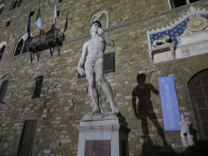 Michelangelo's David (actually the copy) outside Palazzo Vecchio in Firenze.