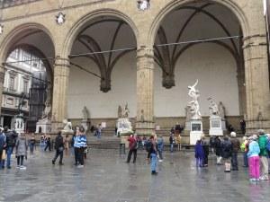 Two Giambologna's, several Roman era pieces, and few human beings, Piazza della Signoria, Firenze.