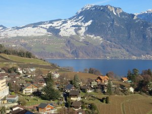The little Swiss town of Spiez; Snow in the mountains, nothing in the town.