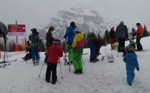 Skiers gather in the shadow of the Jungfrau