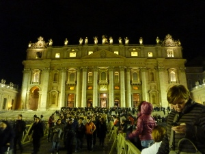 St. Peter's, NYE 2013. I read today that shortly after we left Papa Francesco came out in his Popemobile to see the Nativity in the square. Purtroppo we had left the scene!