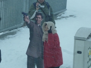 "Japanese tourist in snowstorm to have her picture taken with ""James Bond"". I stayed inside."