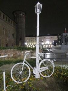Ghost Bike sculpture in Torino