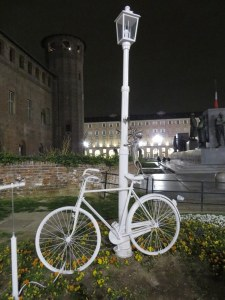 Ghost Bike sculpture in Torino