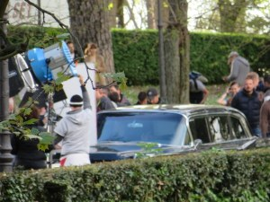 One of the vintage cars on the set in Villa Borghese.