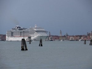 As we approached San Marco in a vaporetto, this cruise ship was making its way into the Bacino to go out to sea.