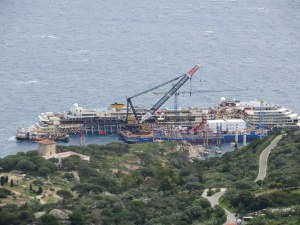 As we hiked to Castello, we were seldom out of sight of the Costa Concordia. We are probably at 800 feet taking this photo.