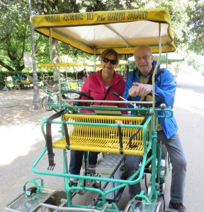 Ric and me in our little risciò, perfect for touring the park. V.B. is the largest public park in Rome.