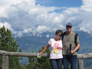 We seldom get photos of us together. Here we enjoy 14C/57F sun a Bullaccia - great hiking weather!