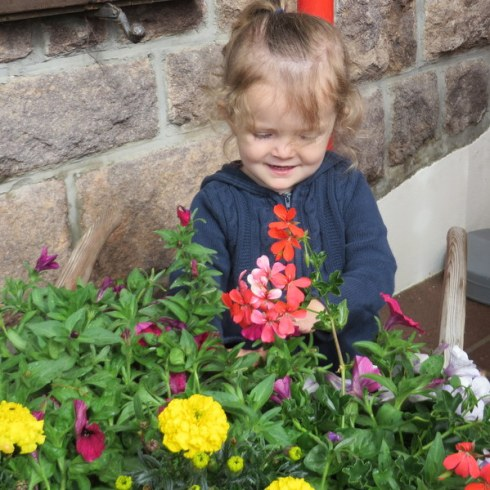 Elizabeth cannot resist the flower displays. The Val Gardena is well-named.