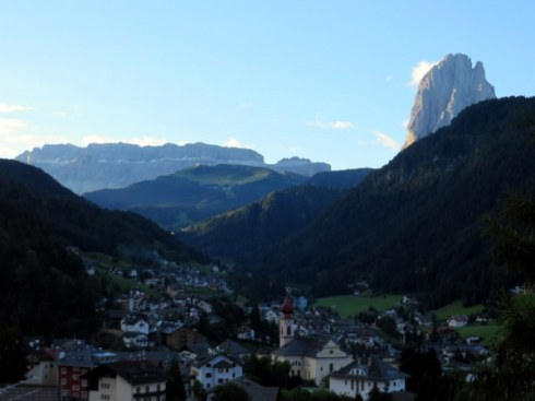 Sunrise on the Sella Group and the Sassolungo, towering over Ortisei, Italy, as seen from our terrace.