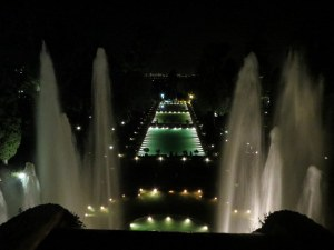 Fountains and pools of Villa d'Este, beautiful during the day, take on added drama at night.