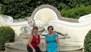 Holly and me by the Reclining Silenus, a Roman Imperial era statue on the embassy grounds.