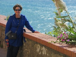 Wind-whipped day on the Belvedere, Manarola, Cinque Terre, Italy.