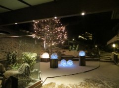 Finally snow to compliment the lights, Hotel Albion.
