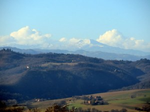 A view from the sanctuary looking toward the mountains of Emilia-Romagna.