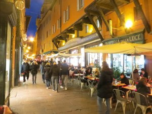 Aperitivi are a huge thing in Bologna, like in Milano. The cafes are crowded even in winter.