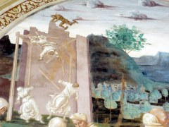Rather violent details in a fresco, showing some of the feats of St. Benedict.