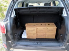 Part of our wine purchase. The trunk was fuller when we finished shopping: leather, honeys, olive oil and more wine.