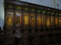 This is the magnificent choir in the abbey church. Inlaid wood.