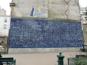 """I love you"" wall in Montmarte."