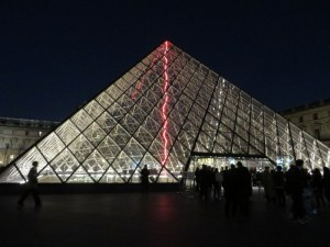 The Louvre featured an installation of neon art.