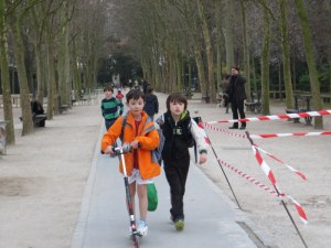 Scooters were everywhere, ridden by both children and adults. Here in Luxembourg Gardens.