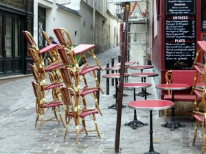 Artful stacking at a cafe in Montmarte.