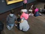 French schoolchildren sketching at Musèe D'Orsay.
