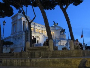 Piazza Venezia in the soft evening light, while we wait to be admitted to the site.