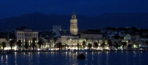 Split is charming lighted at night.