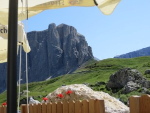 Not a bad view for strudel tasting at Passo Sella.